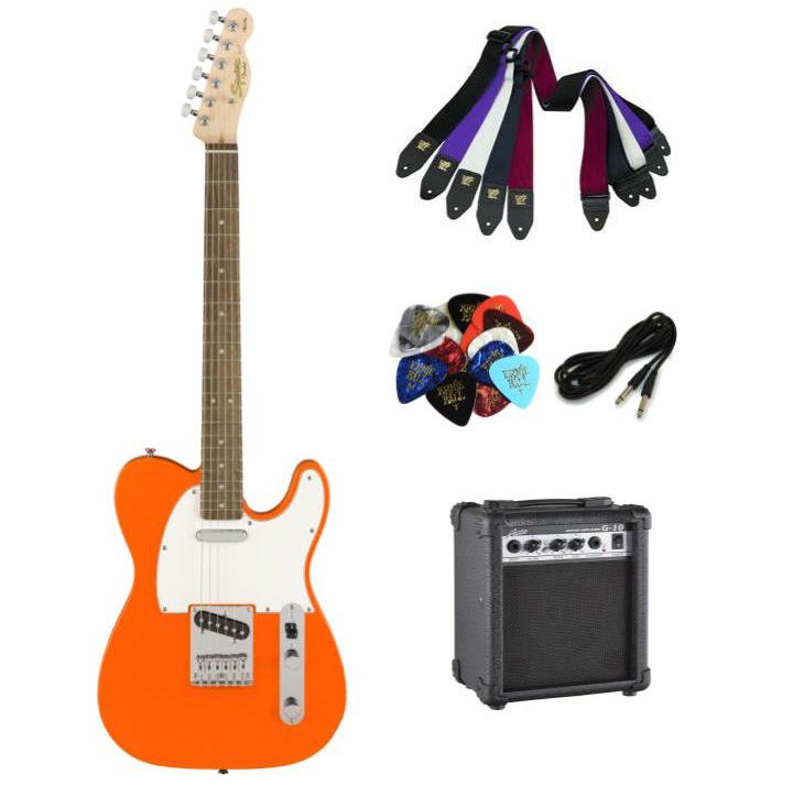 Squier Affinity Telecaster - Competition Orange - Package with Amplifier, Strap, Cable, and Picks