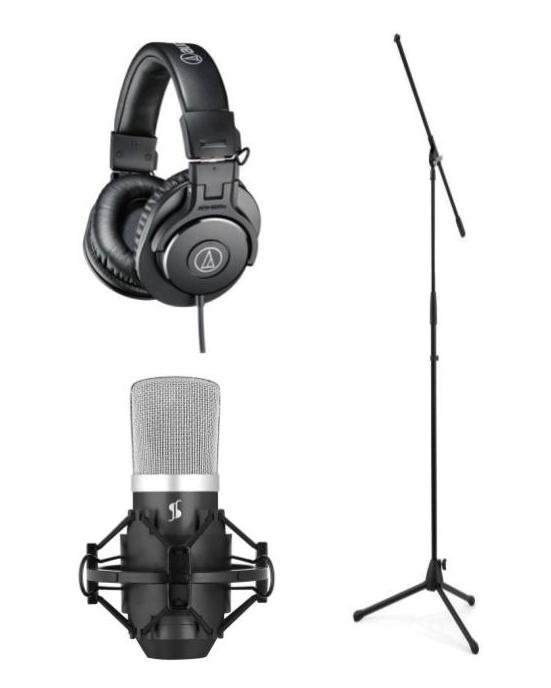 Stagg SUM440 USB Condenser Microphone Package with Headphones and Microphone Stand