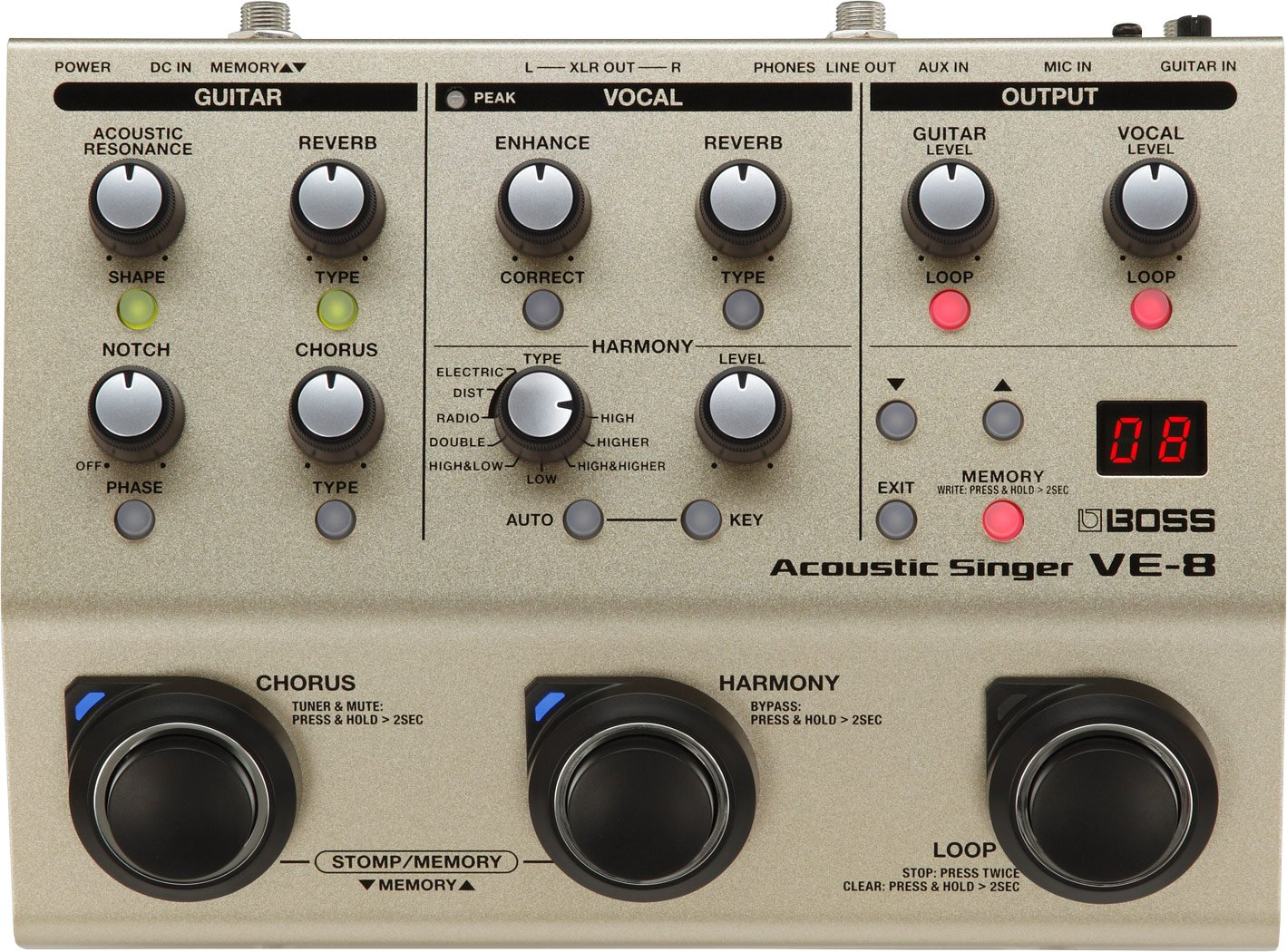 Boss VE-8 Acoustic Singer-Harmony, Looper, & Effects