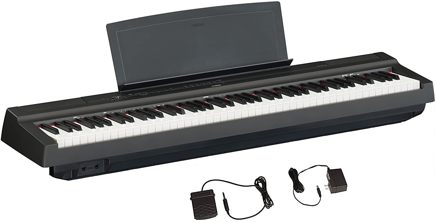 Yamaha Digital Piano 88-Weighted-Keys w/ Power Supply and Sustain Pedal Black