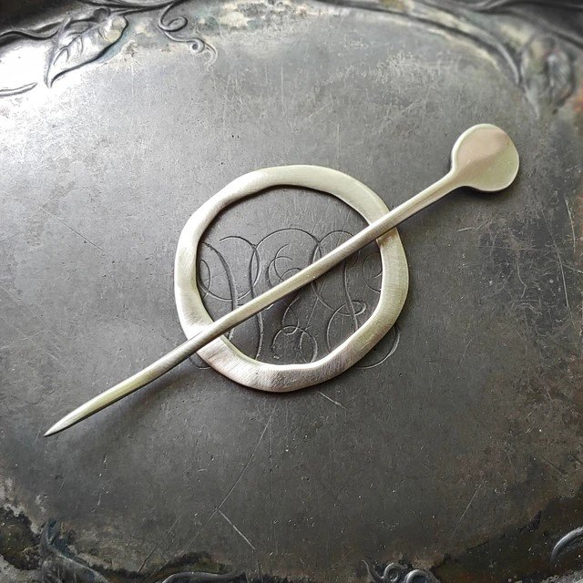 Mid Century Modern Circle Shawl Pin by Jul Designs