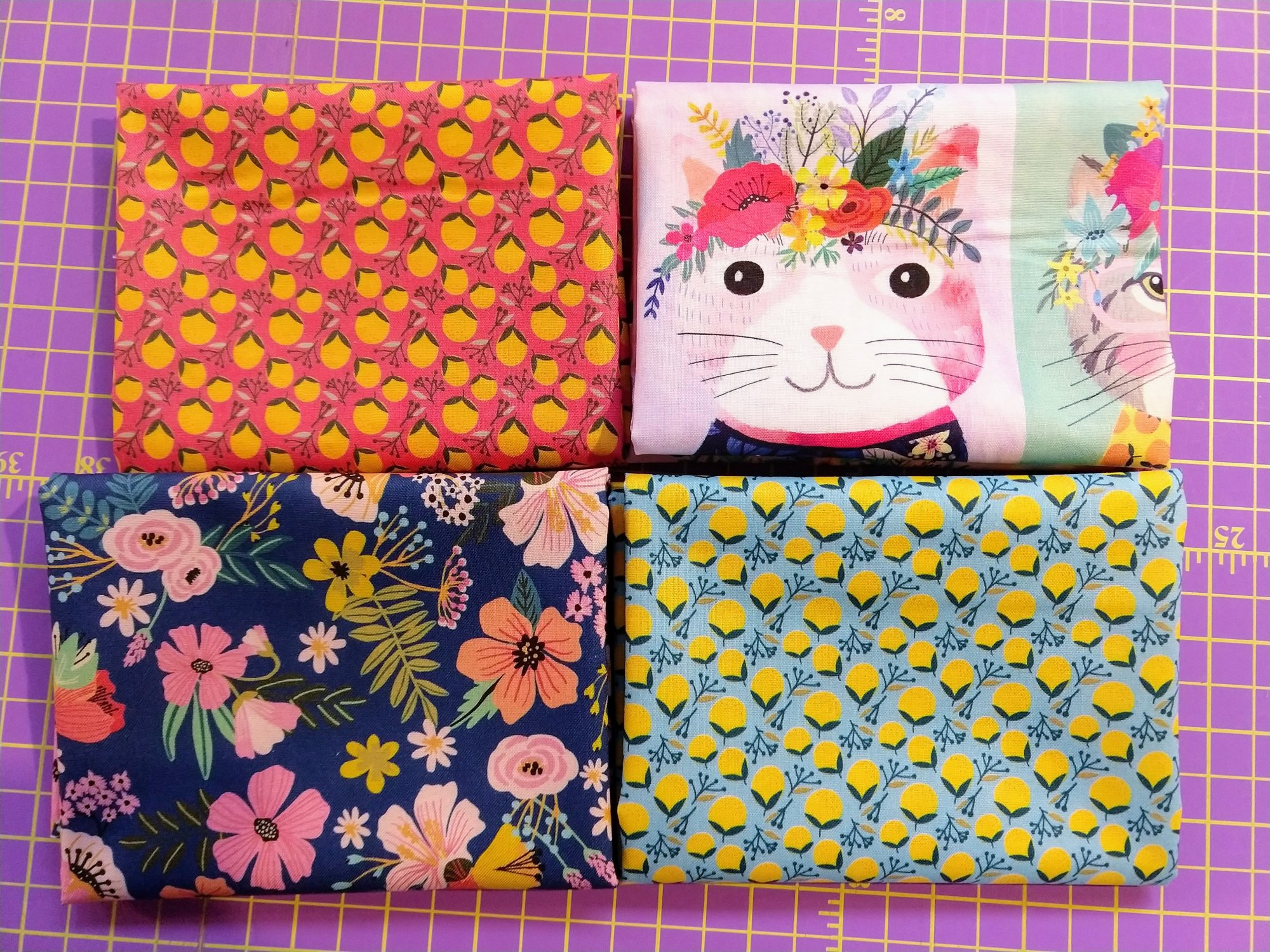 Floral Kitty Fat Quater Pack - 4