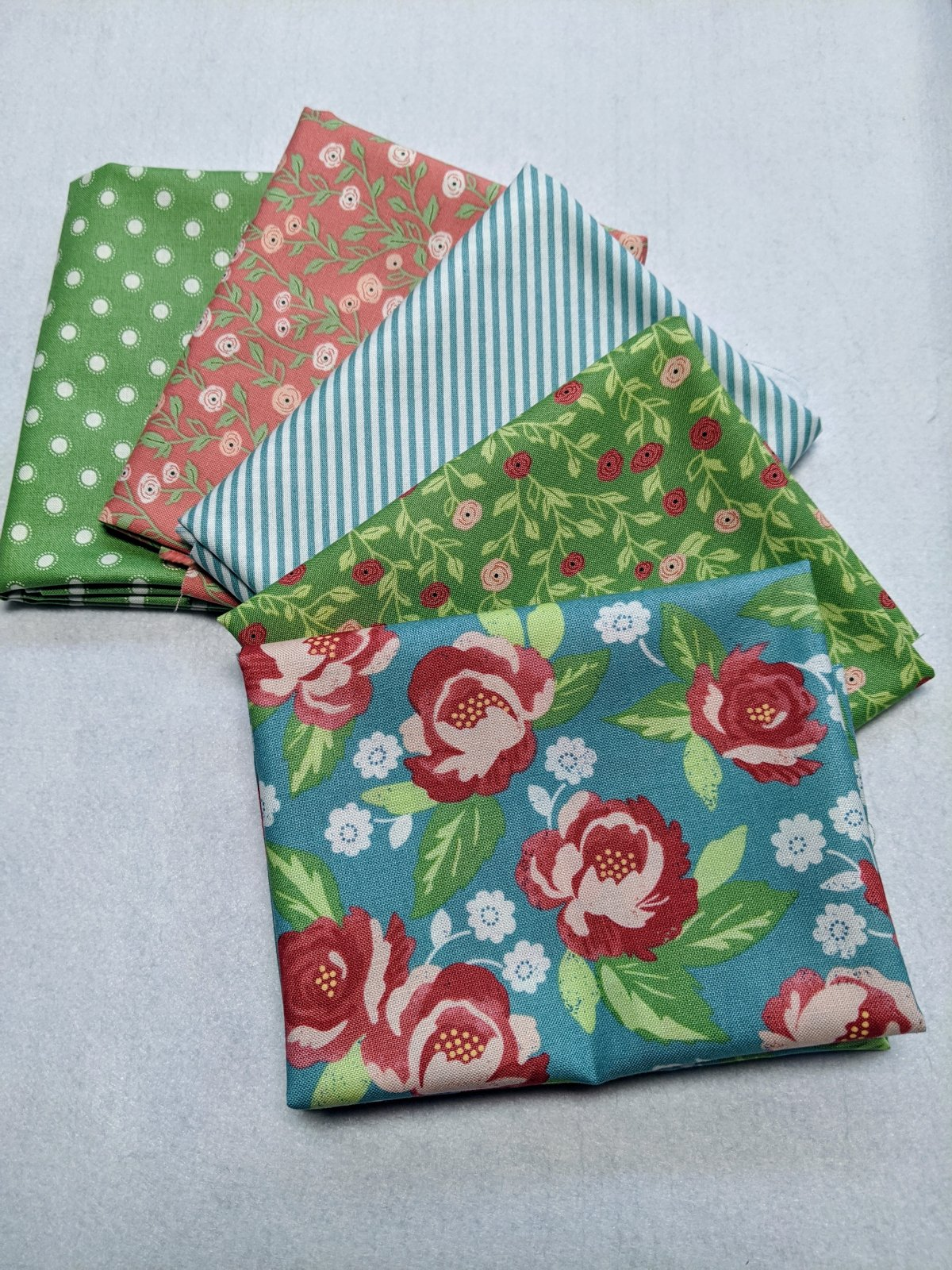 Bloomington Green and Blue - Fat Quarter 5 Pack