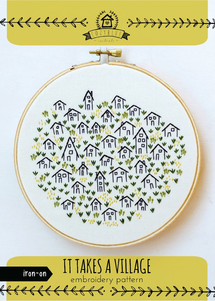 Embroidery Iron On Pattern- It Takes a Village