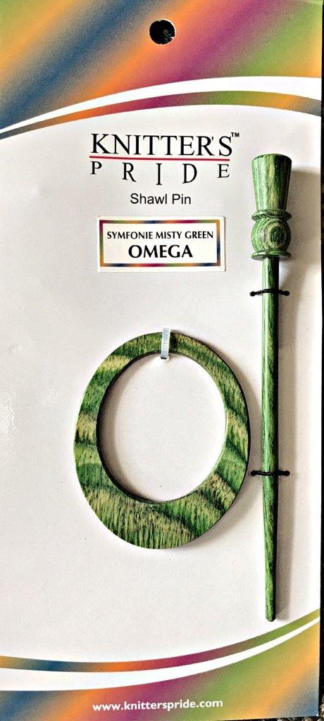 Green Wooden Shawl Pin - Omega