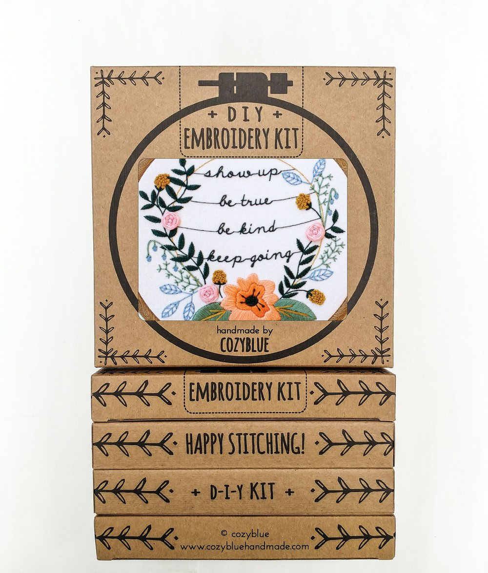 Embroidery Kit- Show Up, Be Kind