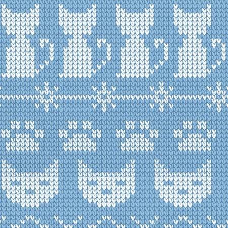 Knit Cats - Fair Isle Friends - Denim Pic Stripe