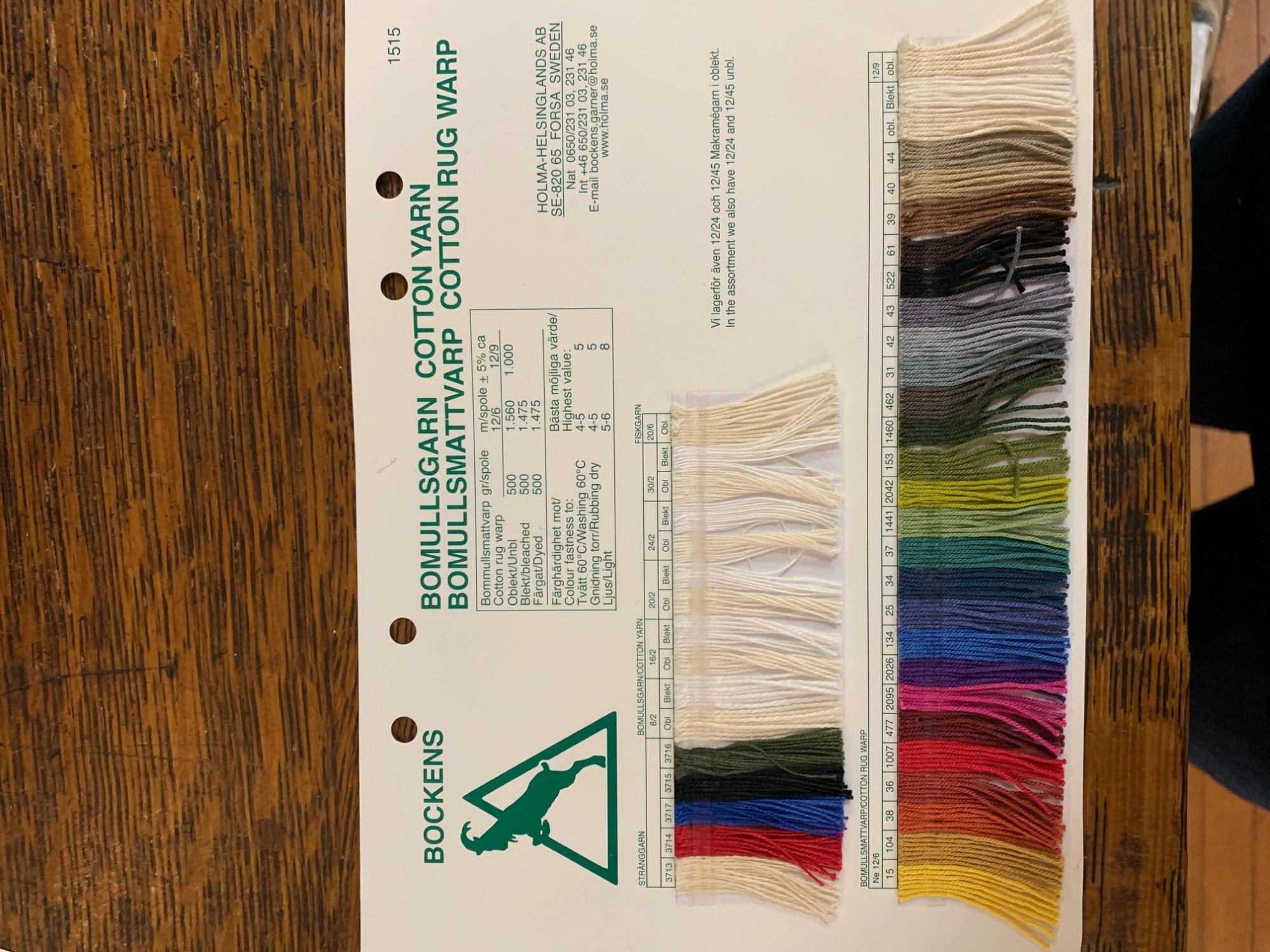 Bockens 12/6 cotton rug warp