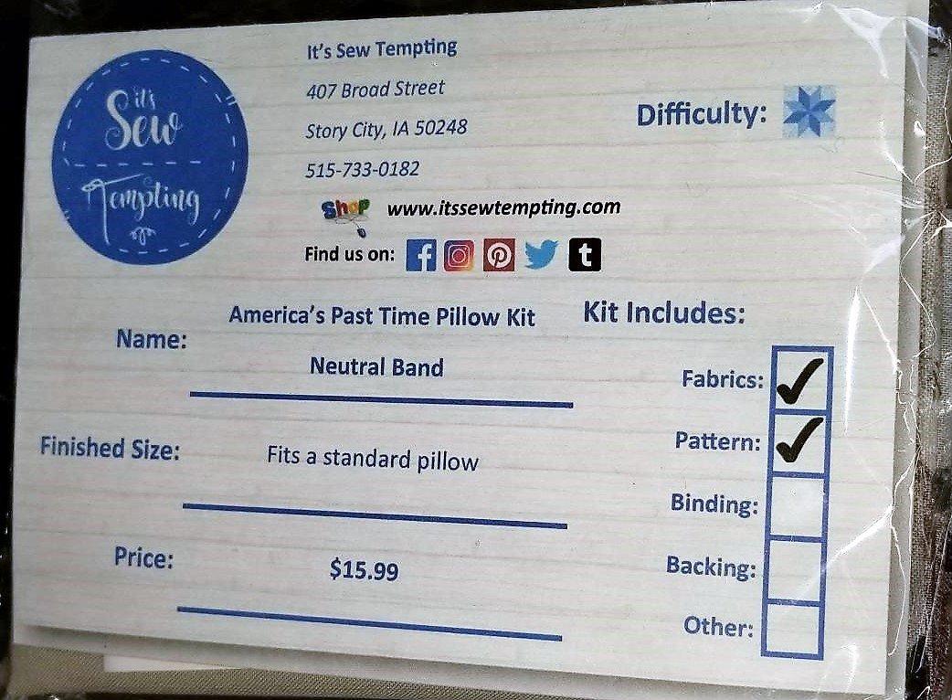 America's Past Time Pillowcase Kit - Neutral Band