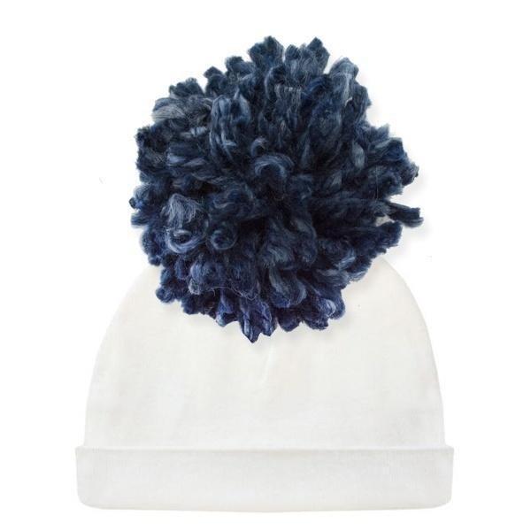 Oh Baby Navy Yarn Pom Hat