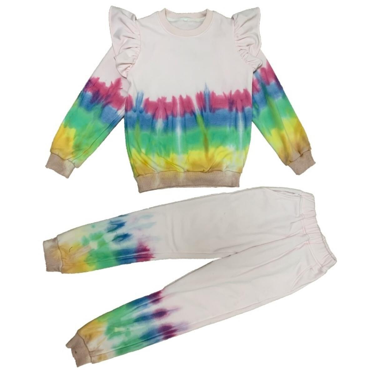 Rainbow Tie Dye Ruffle Shirt and Pants Set