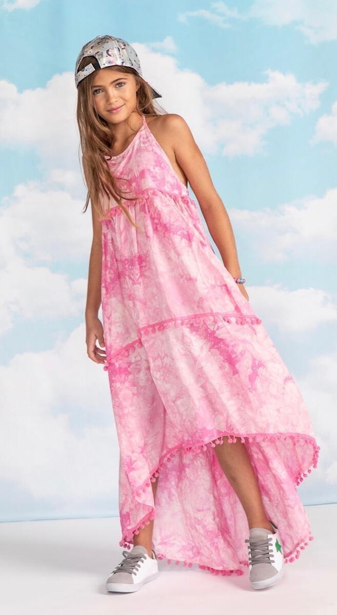 Pink Tie Dye Pom Pom Dress