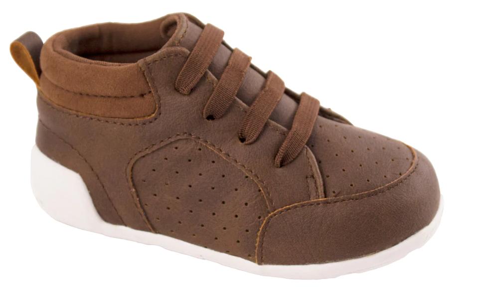 Brown Distressed Hi Top Shoe (Walker)