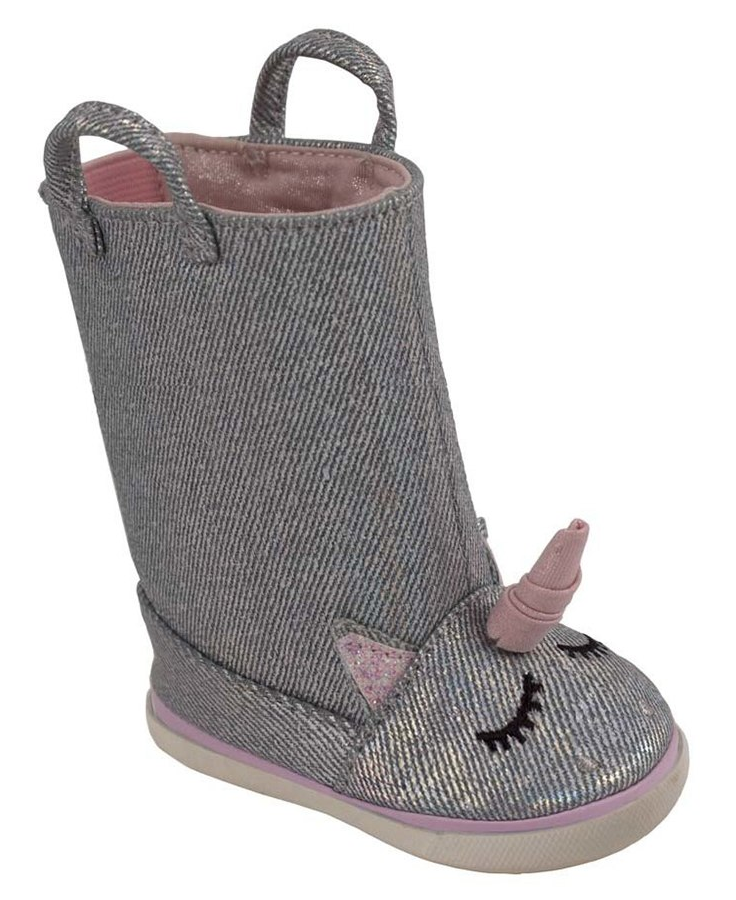 Silver Metallic Denim Unicorn Boots (Walker)