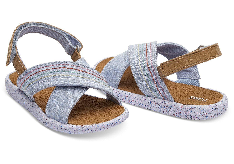 TOMS Blue Chambray Deco Stitch Viv Sandals