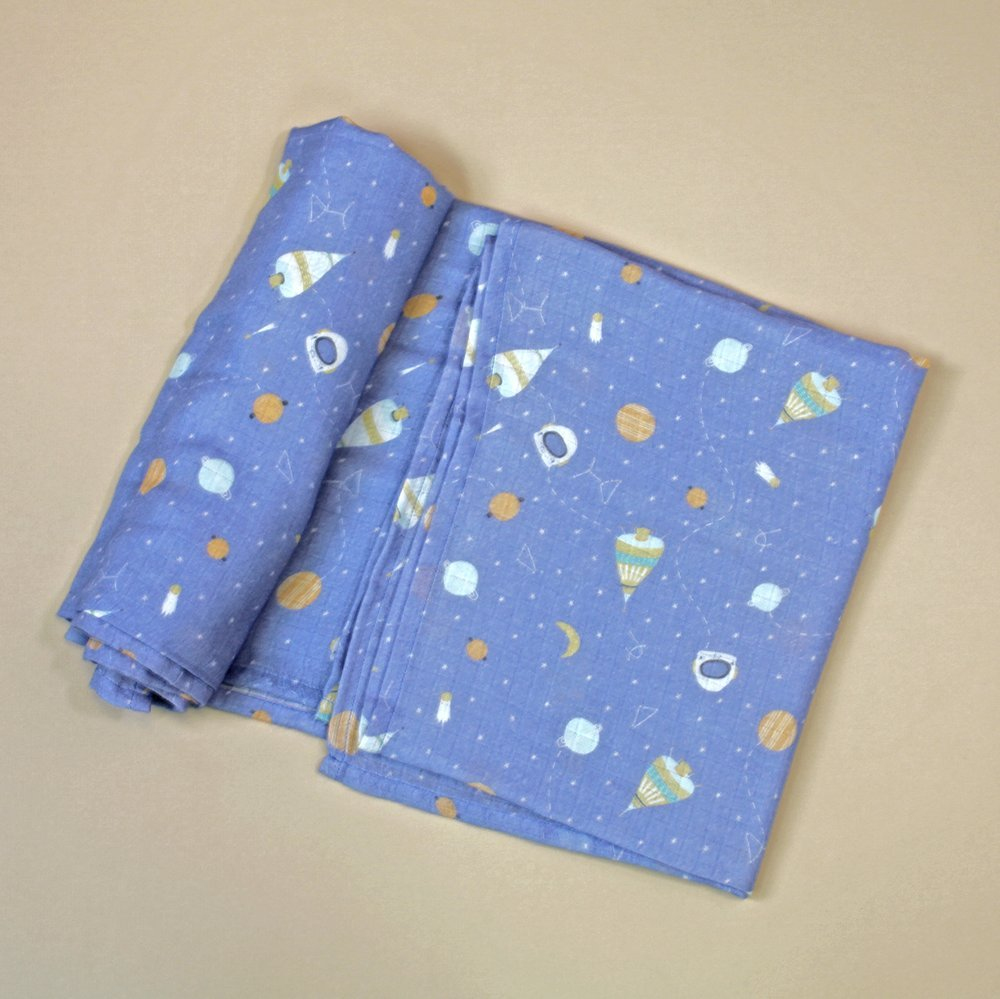 Viverano Organic Blue Space Dream Swaddle Blanket