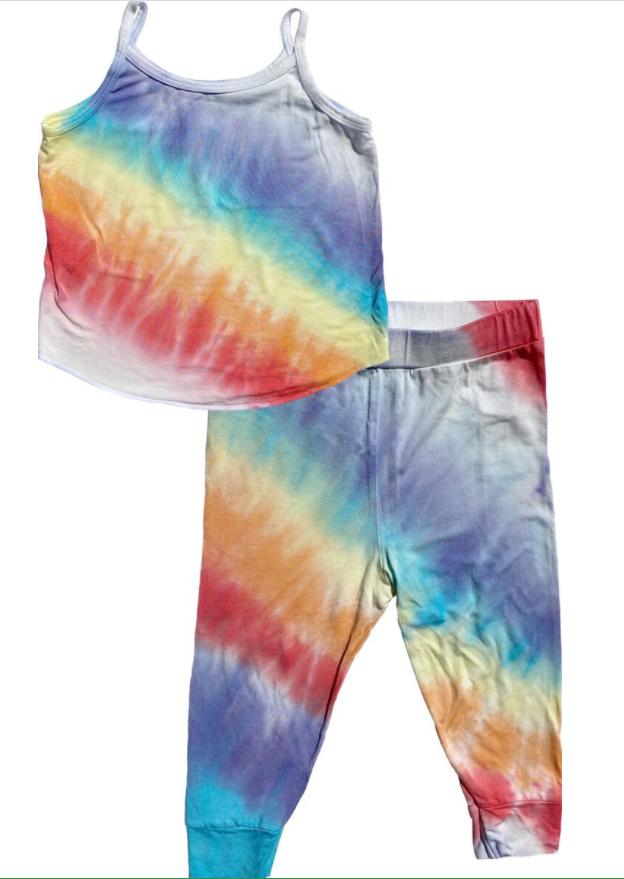 Rainbow Tie Dye Tank Top Pajama Set