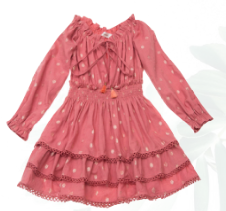 Ujala Tiered Pink Gold Dot Dress