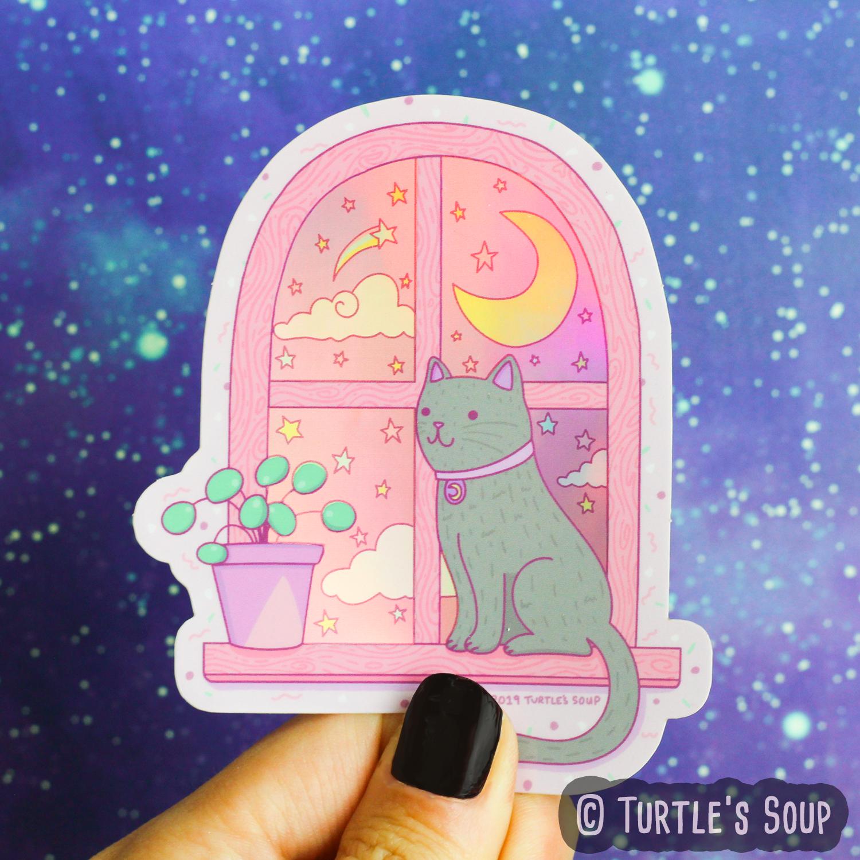 Magical Cat Moonlight Holographic Vinyl Sticker