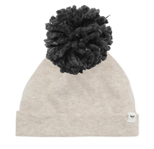 Oh Baby Charcoal Yarn Pom Hat
