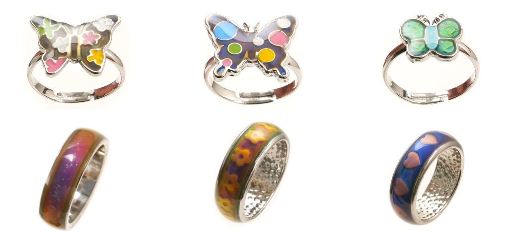 Pretty Butterfly and Band Mood Rings