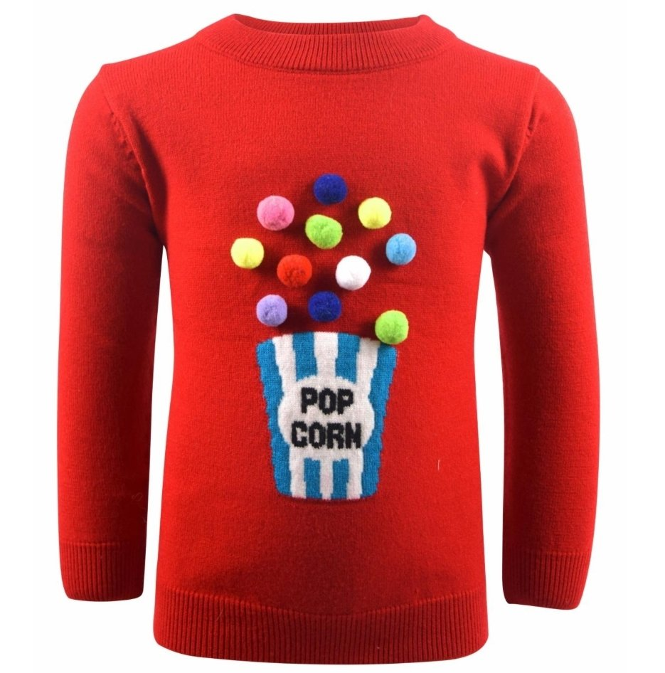 Popcorn Pom Pom Sweater
