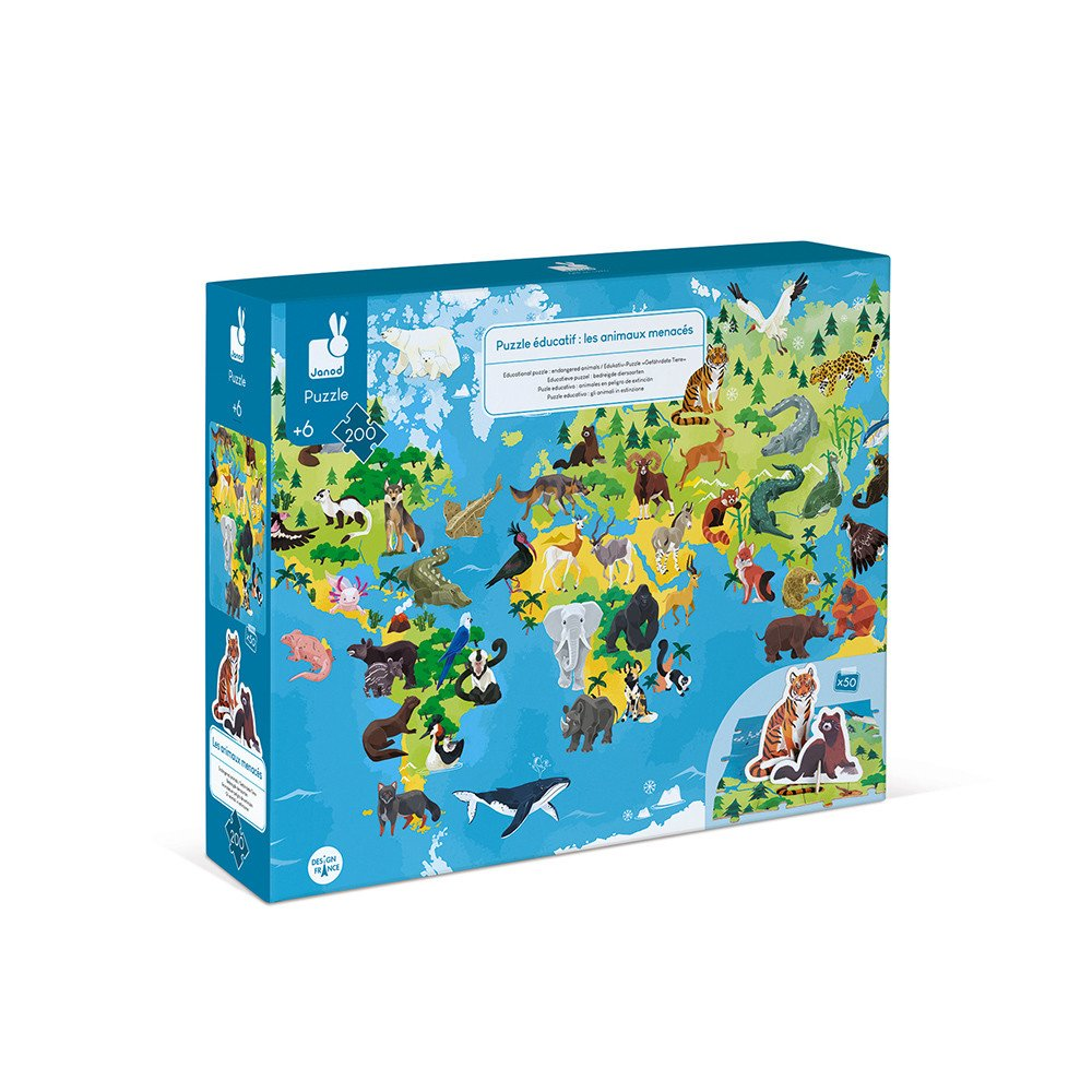Endangered Animals 200pc Puzzle and Booklet
