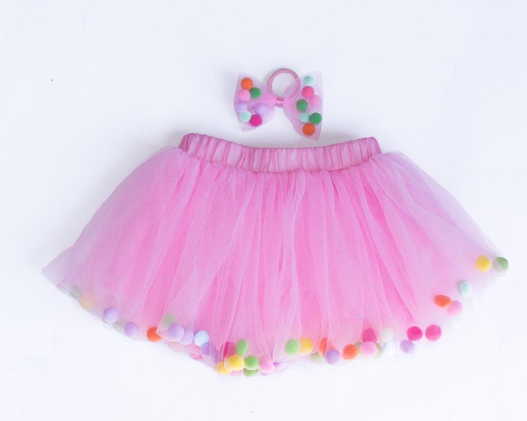 Pom Pom Tutu Skirt with Matching Hair Tie