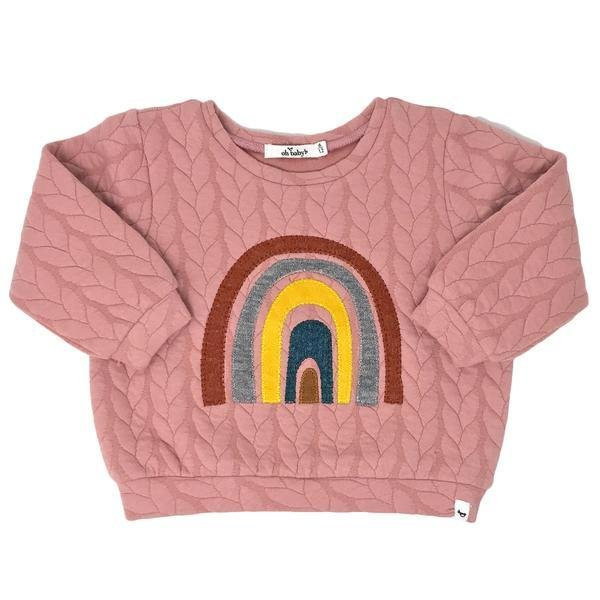 Rainbow Quilted Cable Knit Sweater