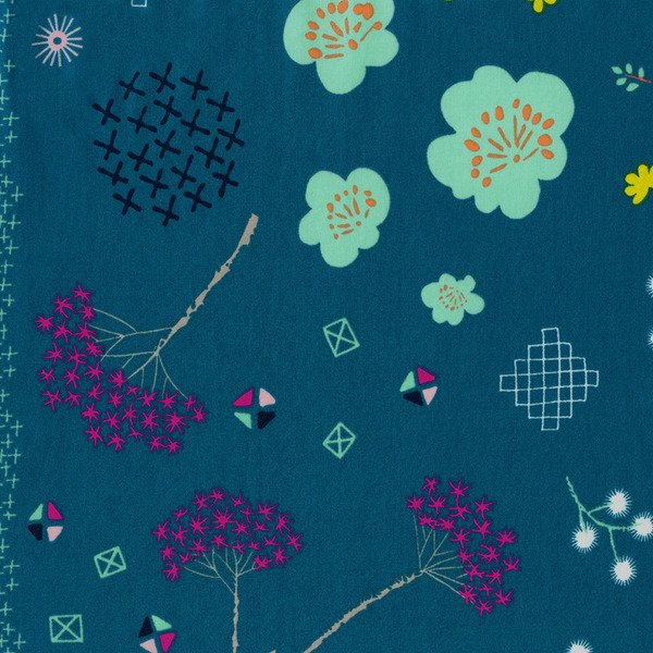 Mochi Floral Teal Cotton Lawn