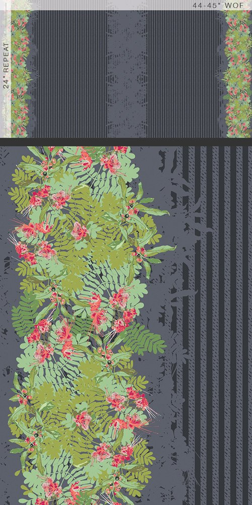 Striped Fleur Paradis Panel
