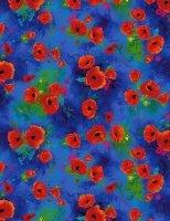I Dream of Poppy - Poppy Bunches Blue Digitally Printed