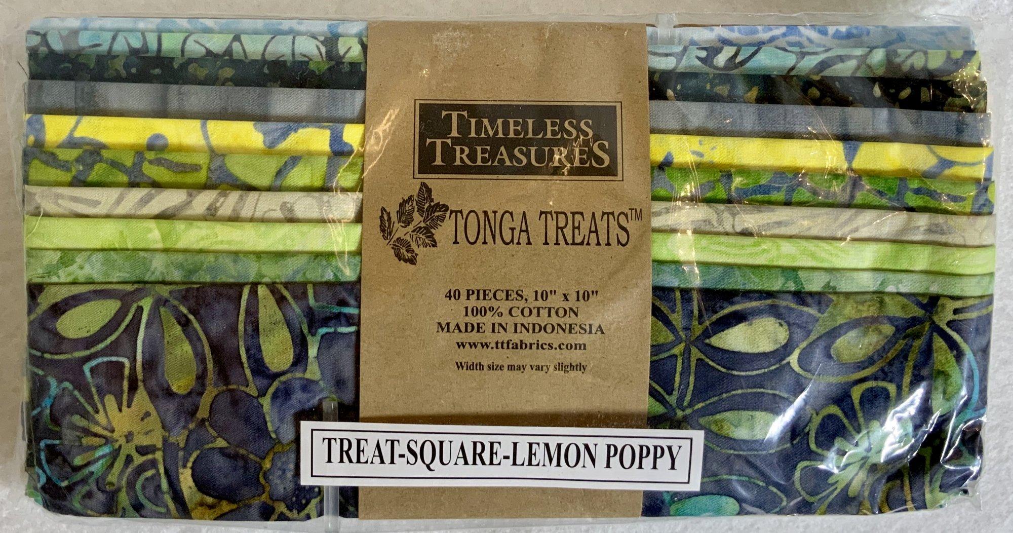 Tonga Treat Square Batik Lemon Poppy, (40 pcs 10x10) - Timeless Treasures