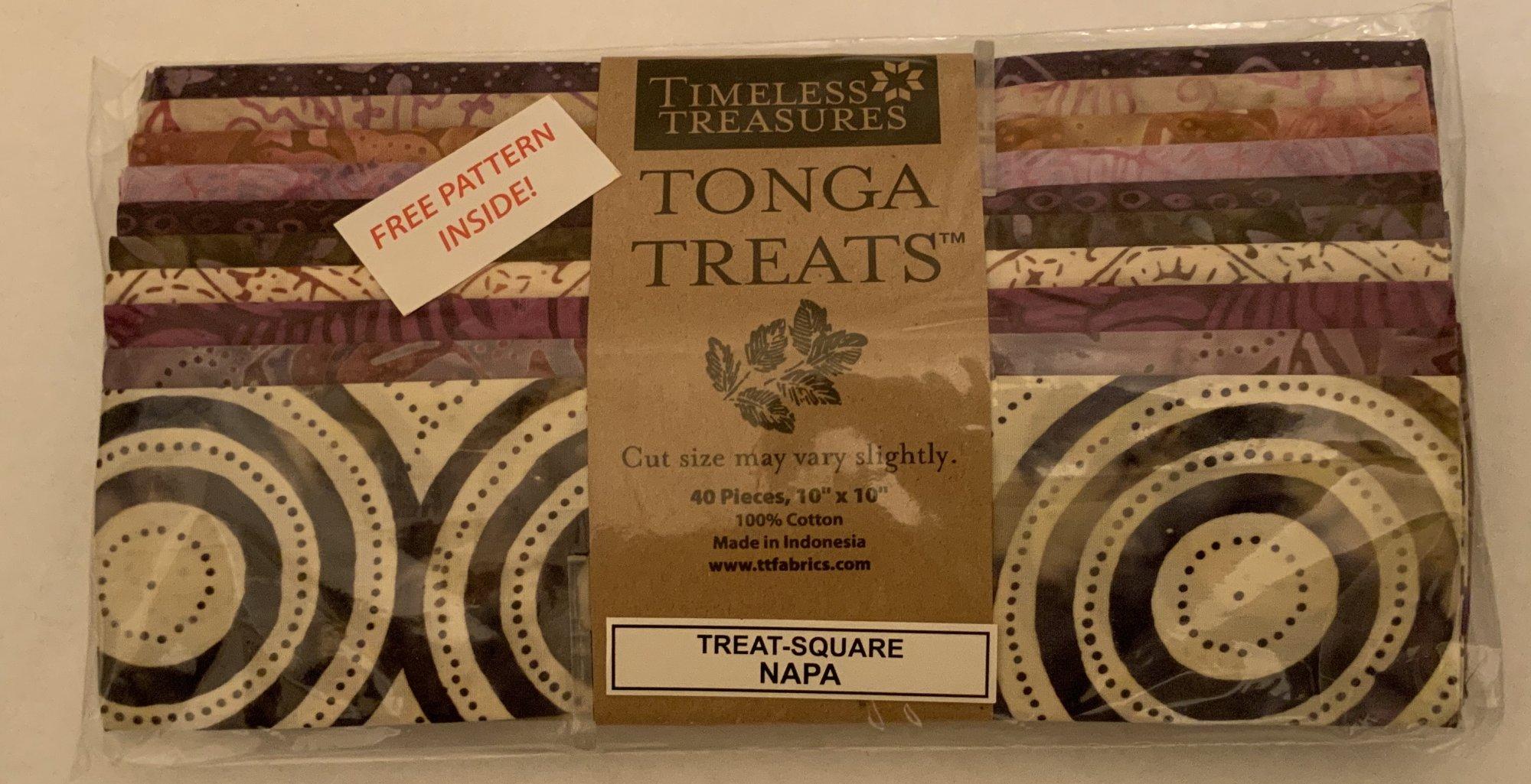 Tonga Treat Square Batik Napa, (40 pcs 10x10) - Timeless Treasures