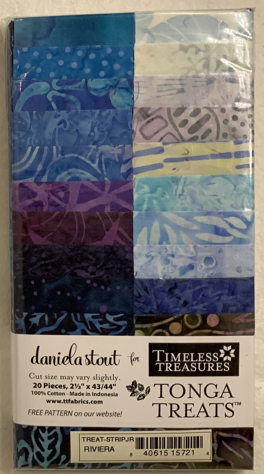Tonga Treat Strip JR Riviera, (20 pcs 2.5 x44) - Daniela Stout - Timeless Treasures