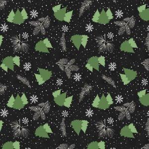 Gnome Antic  Black / Trees  100% Cotton 42-44 Wide