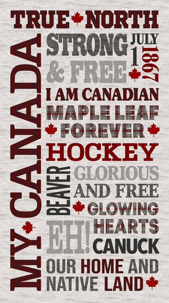 My Canada Large Words Panel  100% Cotton 24 x  42-44 Wide