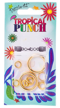 Tropical Punch  Jump Rings GOLD Assorted sizes 12pcs