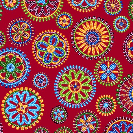 Beaded Blooms Circles Red 100% Cotton 42-44 Wide