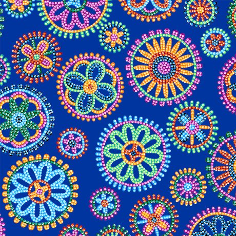 Beaded Blooms Circles Royal 100% Cotton 42-44 Wide