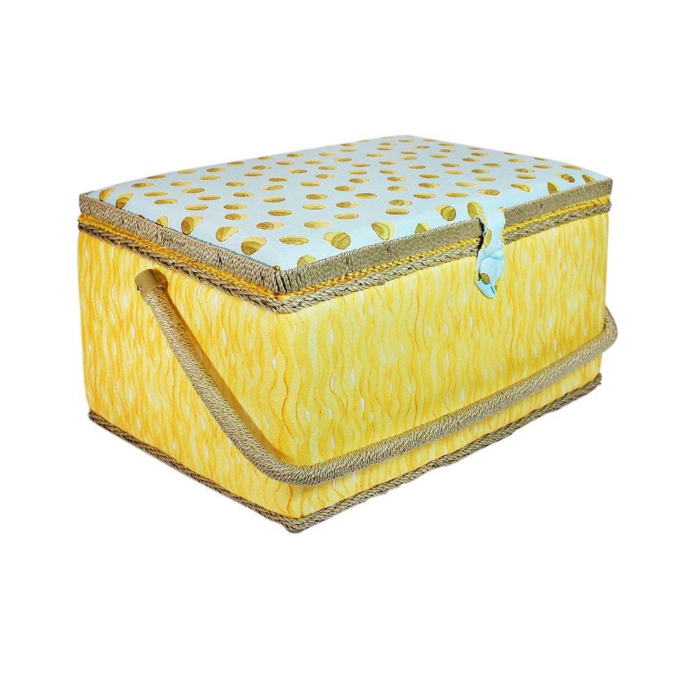 VIVACE Large Sewing Basket - Yellow Aqua- 38 x 25 x 20cm (15″ x 10″ x 8″)