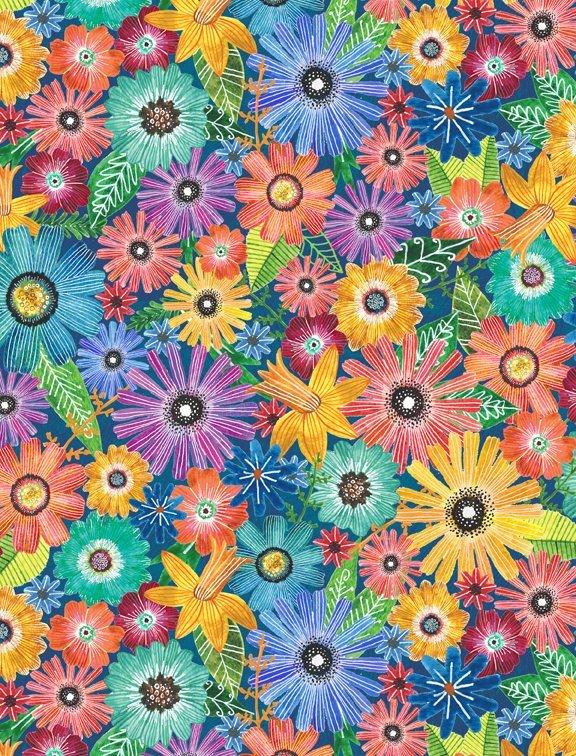 Flora Flight  Flowers 100% Cotton 42-44 Wide