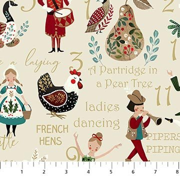 12 Days of Christmas Beige Multi  100% Cotton 42-44 Wide