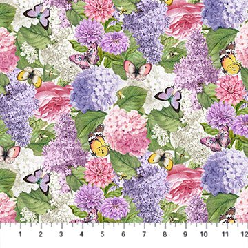 Scented Garden Light Gray Floral 100% Cotton 42-44 Wide