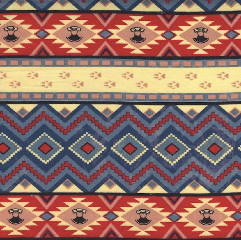 Aztec Red, Slate and Yellow 100% Cotton 45 Wide