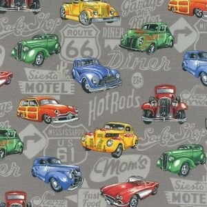 Hot Rods 100% Cotton 42-44 Wide