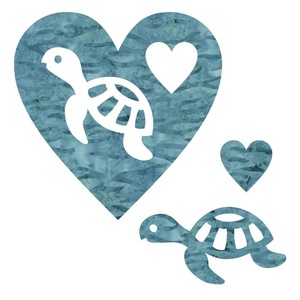 Turtle  and Heart  Laser Cuts  6.25X6.25  Blue