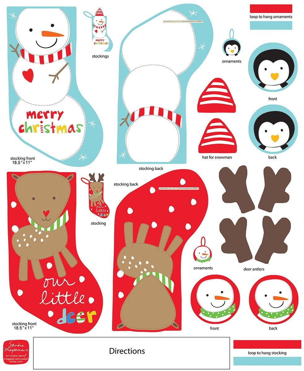 Xmas Stockings Snowman Reindeer Panel