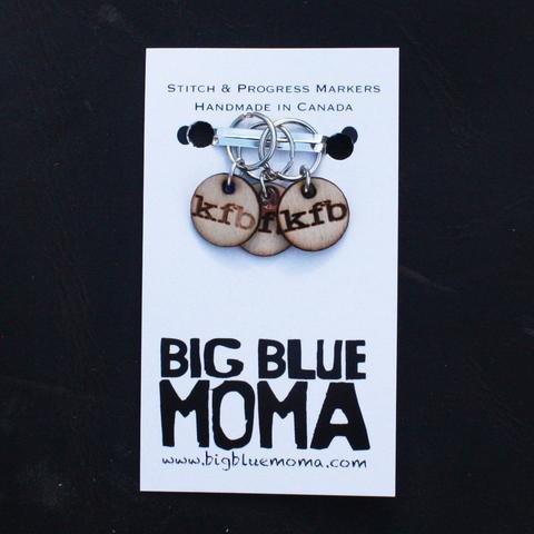 Big Blue Moma Stitch Markers - Set of 5