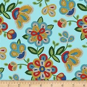 Tucson Lt Turq Floral 100% Cotton 42-44 Wide